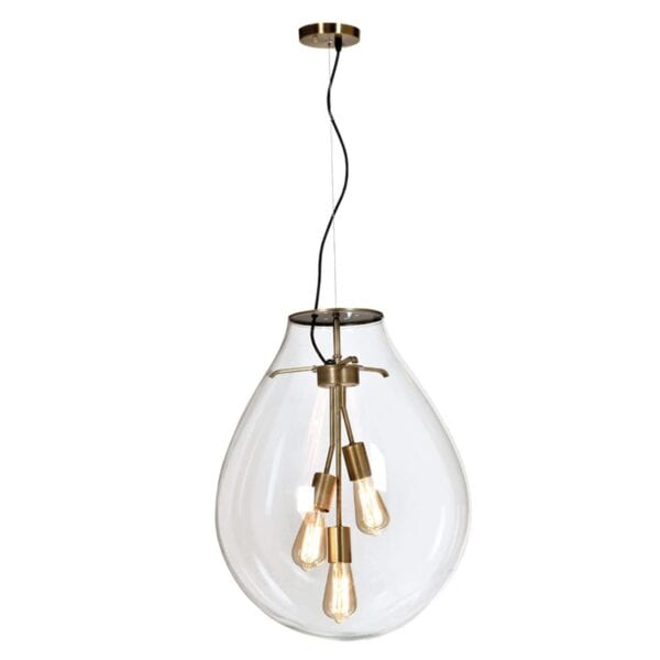 BRASS PENDANT WITH CLEAR GLASS METRO MENLYN
